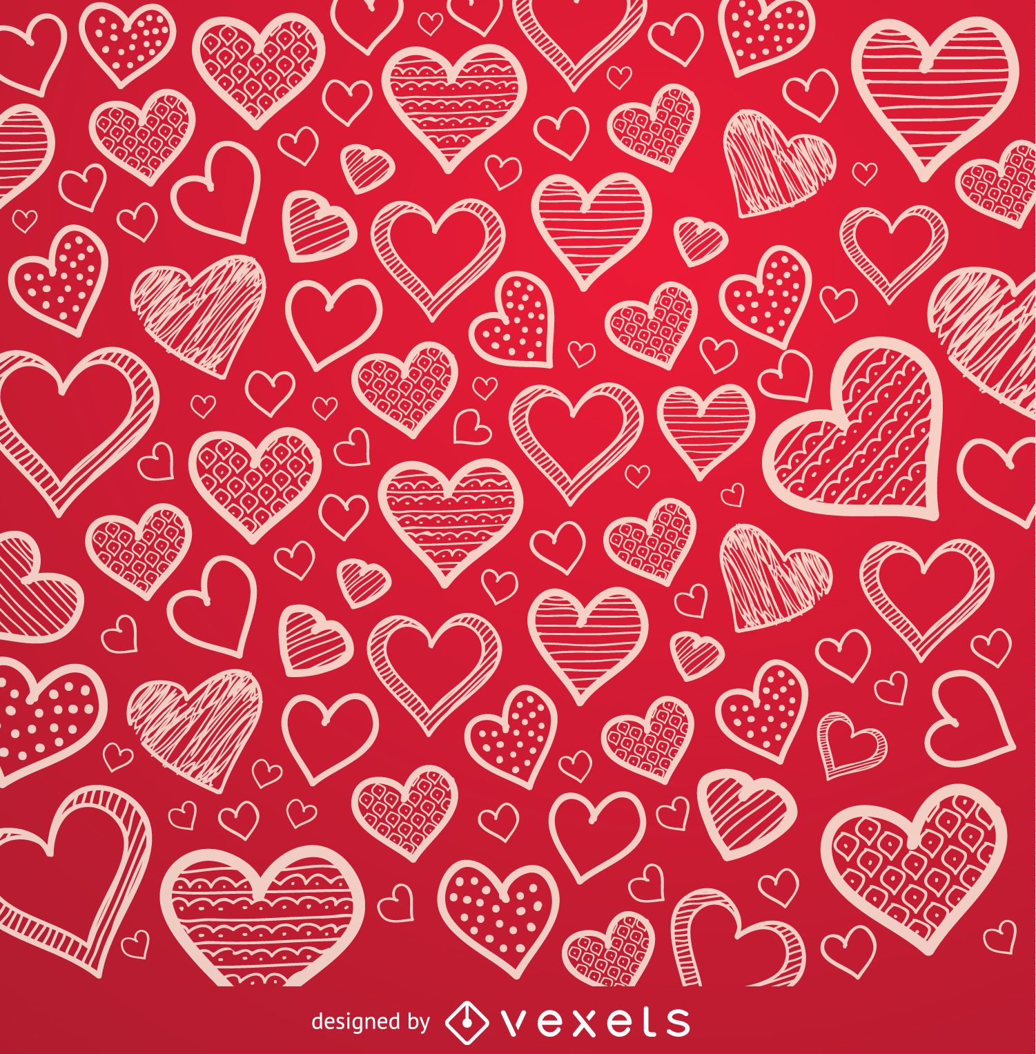 Red hearts hand drawn background