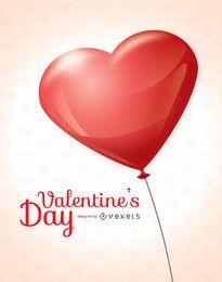 Cartão de balão de coração dia dos namorados