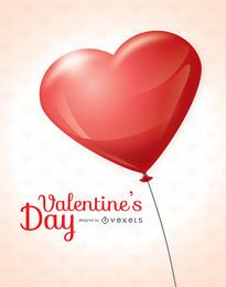 Tarjeta de globos de corazón de San Valentín