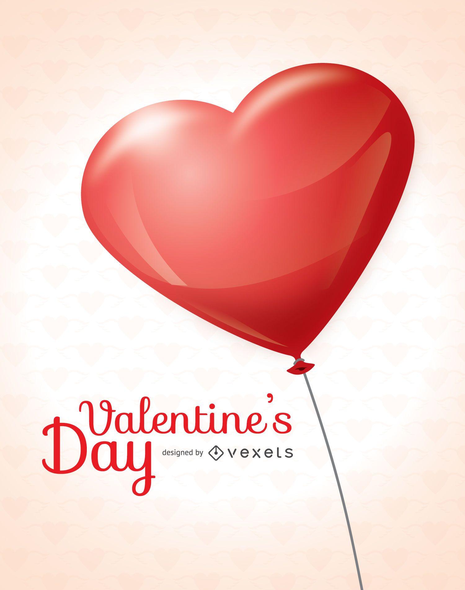 Valentine?s Day heart balloon card