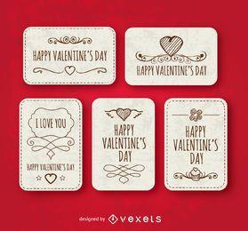 Happy Valentinstag Etiketten