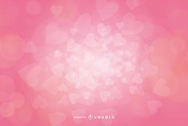 Corazones fluorescentes de San Valentín fondo rosa