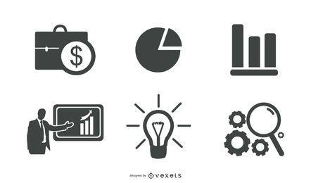 Conjunto de design de ícones de negócios e finanças