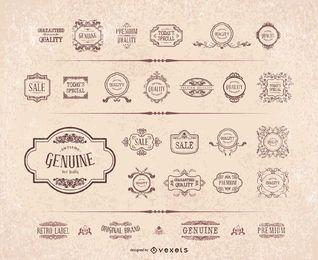 Conjunto de quadro de etiqueta de ornamento retro