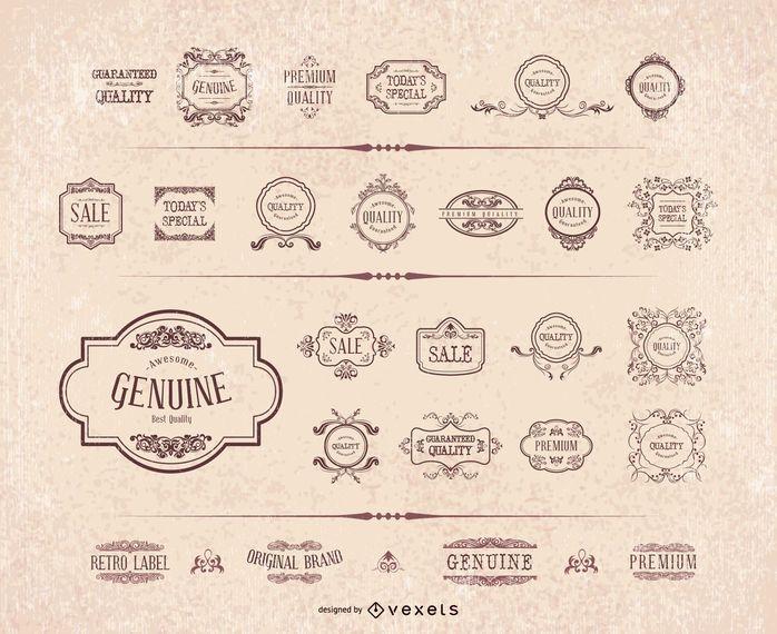 Conjunto de marco de etiqueta ornamento retro