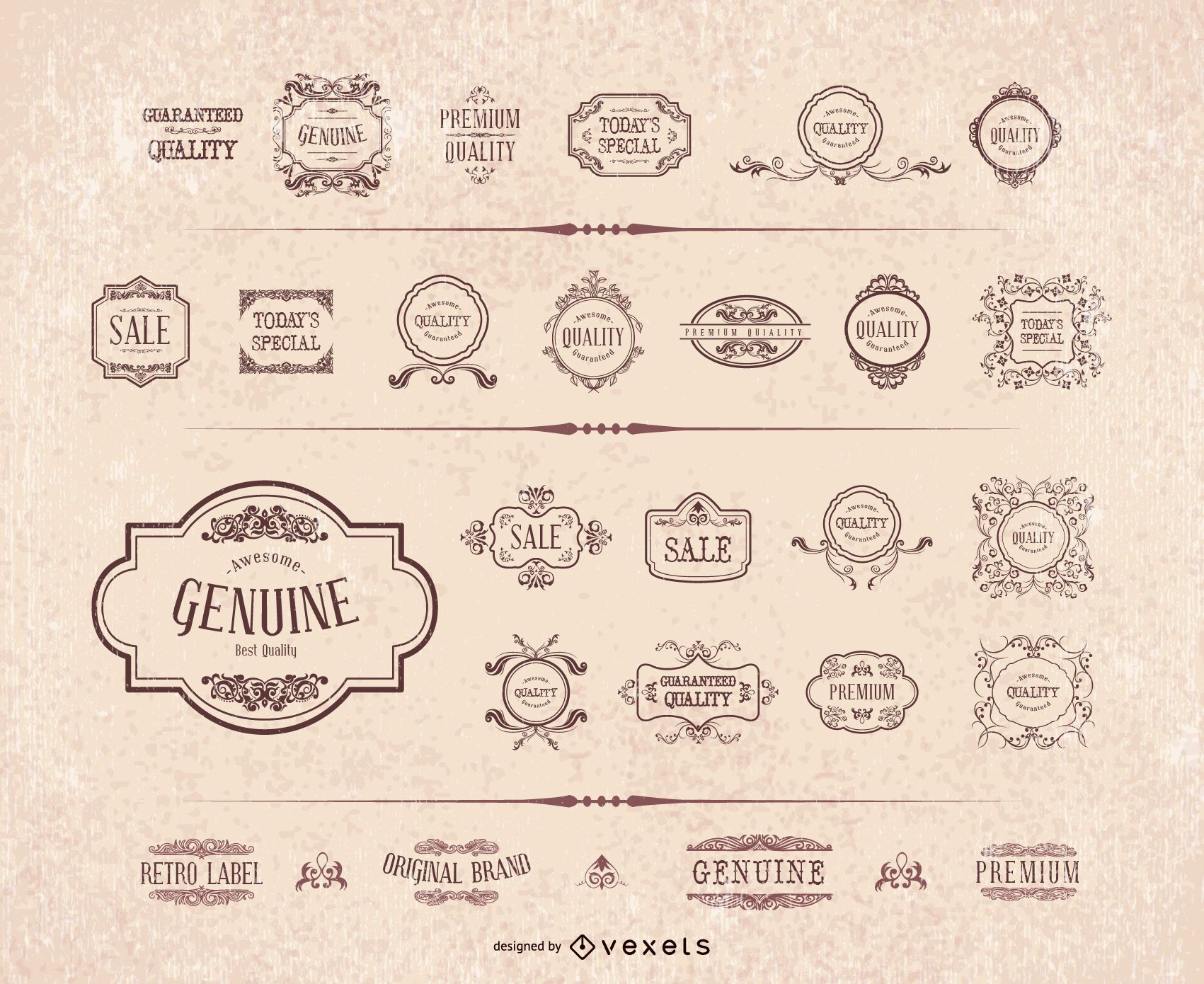 Conjunto de moldura de etiqueta de ornamento retrô
