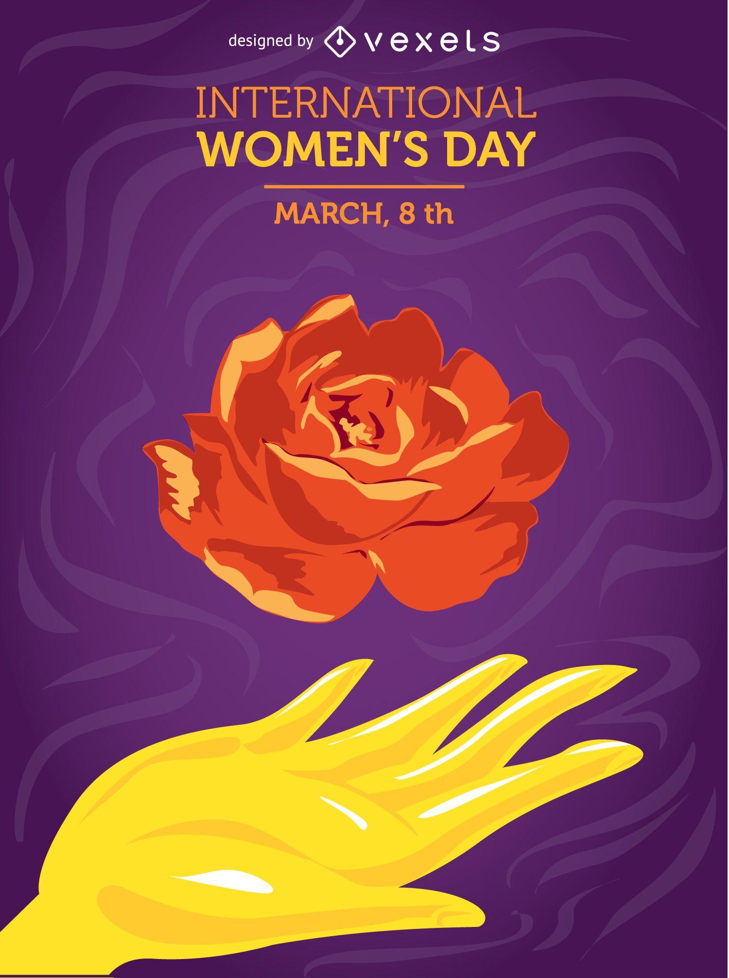 Mão e flor do dia da mulher
