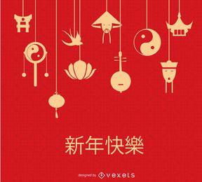 Chinesische hängende Elemente