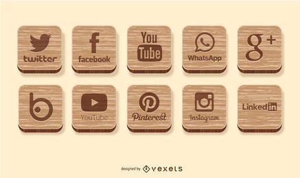 Social-Media-Ikonen aus Holz