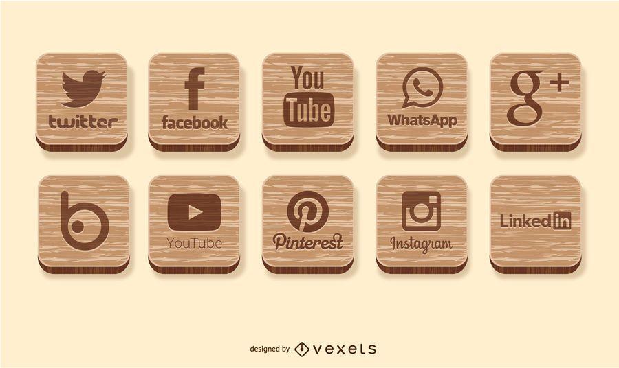 Ícones de madeira de mídia social