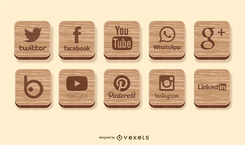 Social media wooden icons