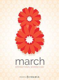 Día internacional de la mujer en diseño floral.