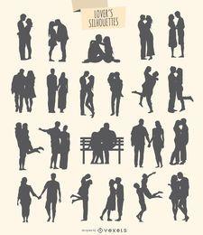 Kit de 21 siluetas de enamorados.