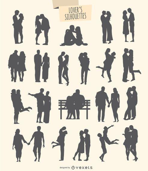 kit de 21 silhuetas de amantes