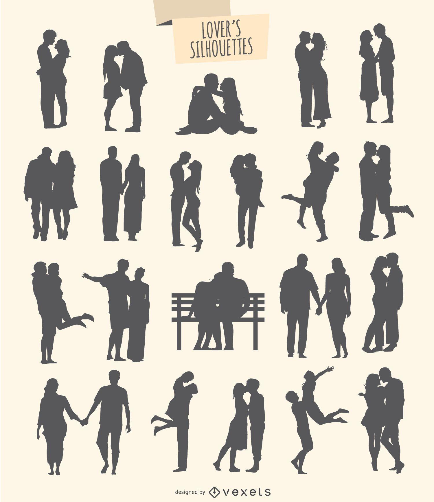 kit de 21 siluetas de enamorados