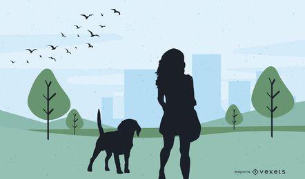 Girl Silhouette Evening Walk