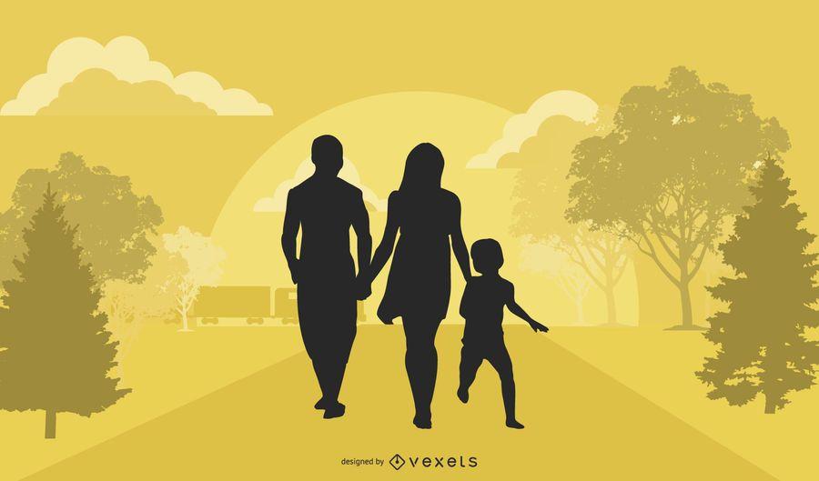 Familia en la calle de la ciudad