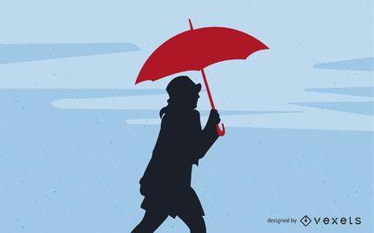 Chica con paraguas en la lluvia