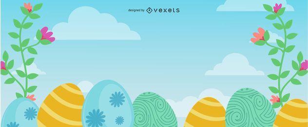 Huevos Decoración Floral Pascua Banner