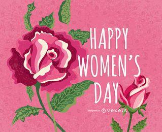 Saludo rosado del día de las mujeres florales