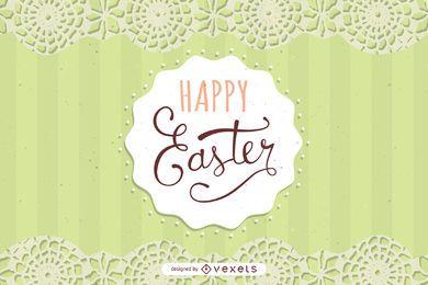Cartão de Páscoa com decoração de renda