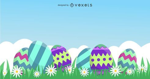Colored Eggs Easter Card