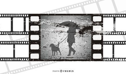Película escena rota tira de película