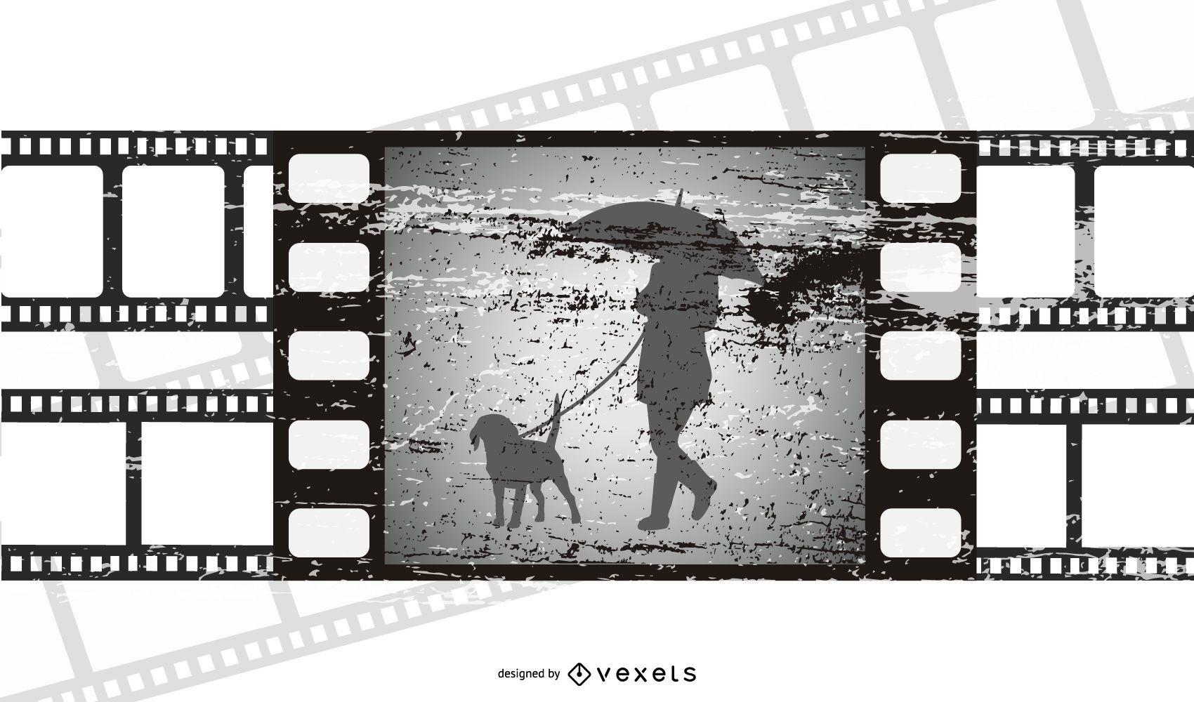 Movie Scene Broken Filmstrip