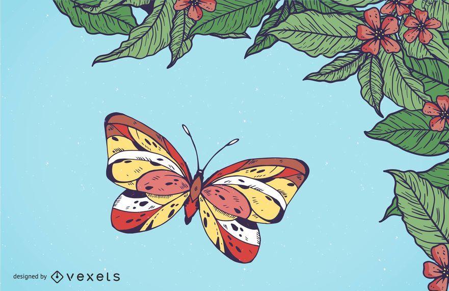 Fondo floral de la primavera de la mariposa de las hojas