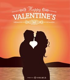 Liebhaber des Valentinsgrußes, die bei Sonnenuntergang küssen