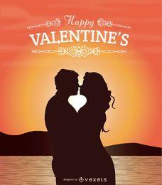 Os amantes de Valentim que beijam no por do sol