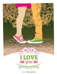 cartão moderno dos Namorados