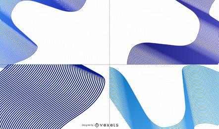 Conjunto de fundo de ondas azuis criativas