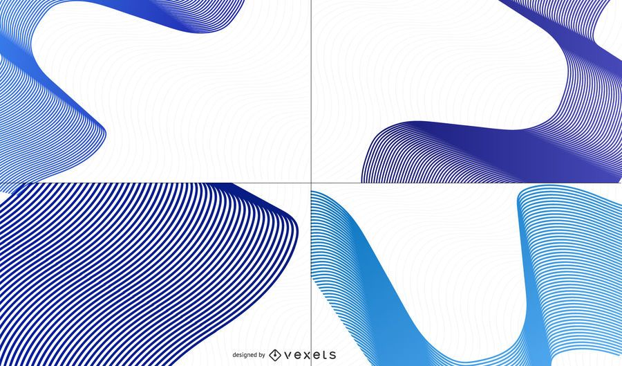 Conjunto de fundo criativo ondas azuis