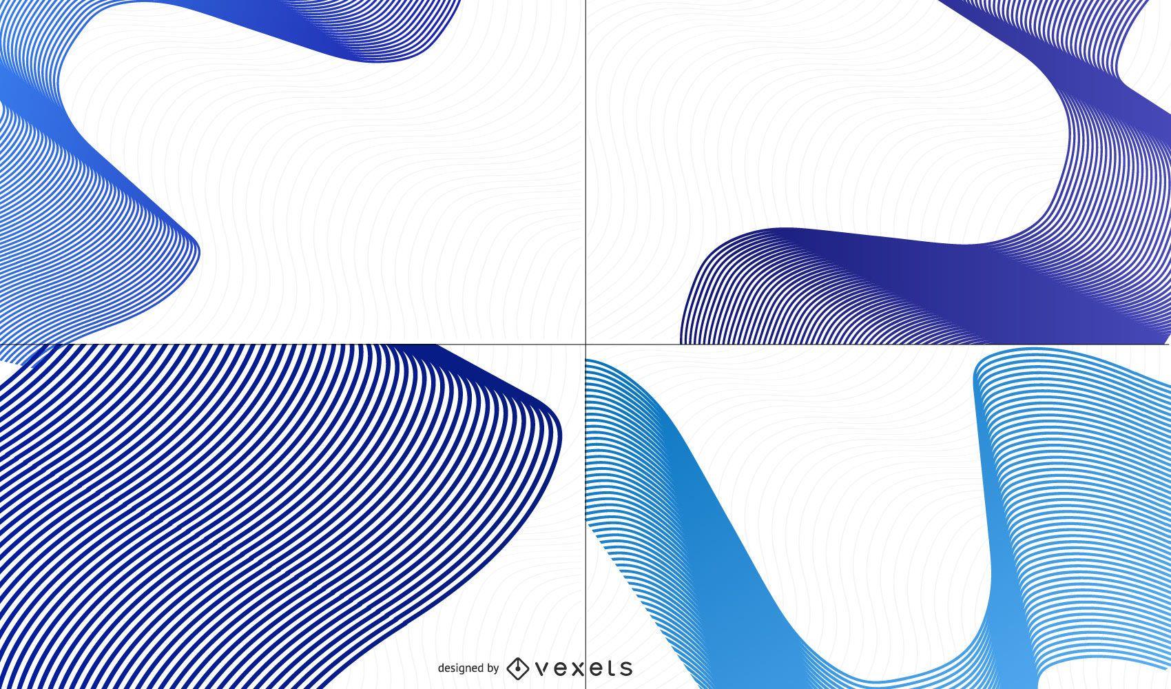 Creative Blue Waves Background Set