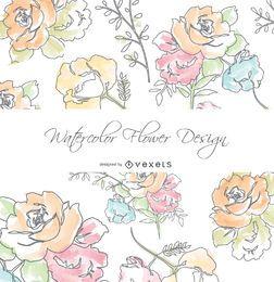 Acuarela tarjeta de felicitación de las flores