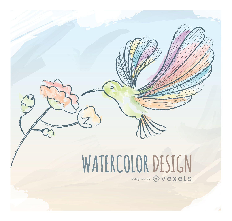 Watercolor humming bird greeting card