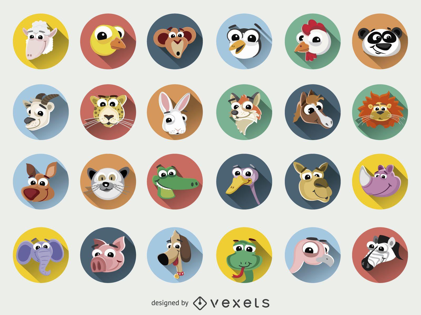 Conjunto de ícones de rostos de desenhos animados de animais engraçados