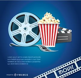 Movie vector with popcorn tape and clapper