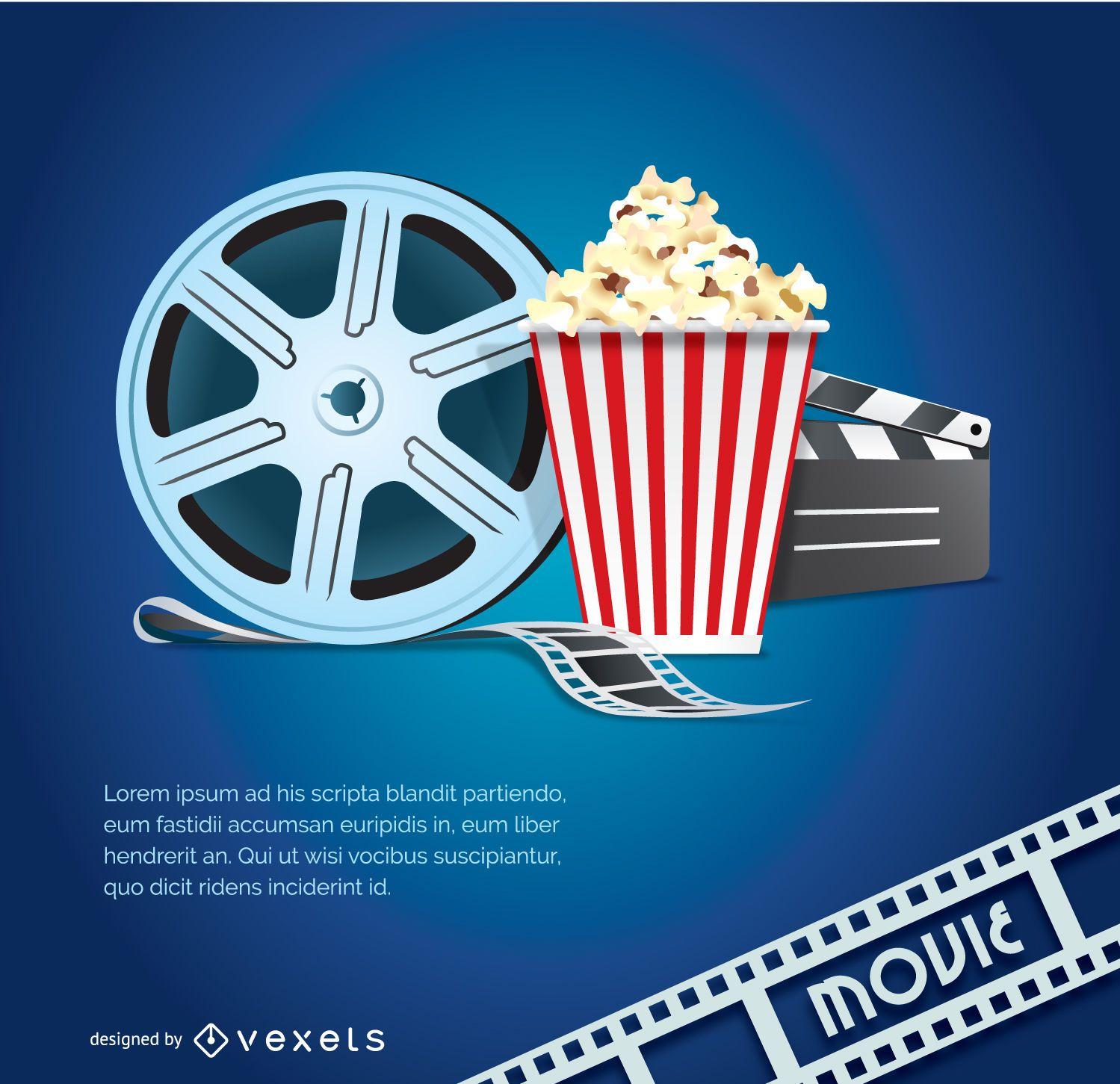 Vector de película con palomitas de maíz cinta y badajo