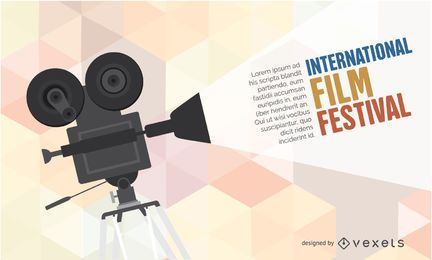 Festival de cine plantilla de cartel de cámara