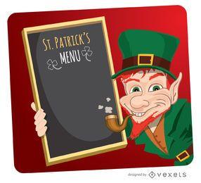 Anão elfo de St. Patrick com menu