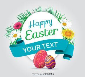 Feliz Pascua símbolo redondeado con huevos y flores