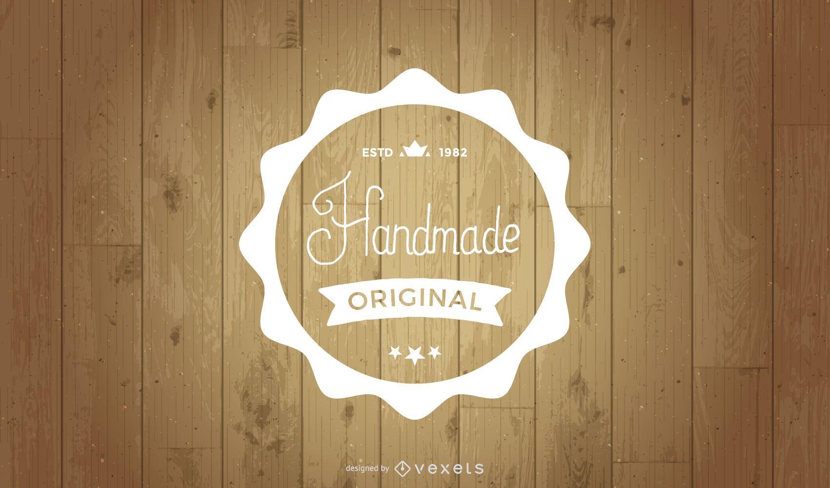 Retro Label on Wooden Background