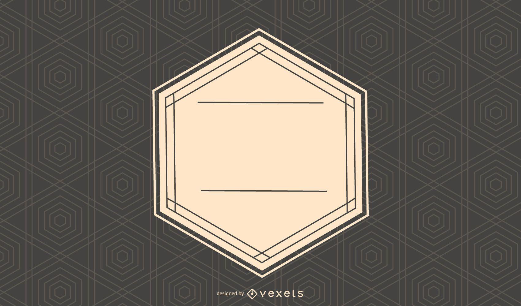 Retro Label on Hexagonal Texture