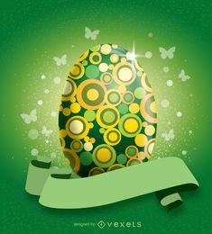 Huevo verde de Pascua adornados