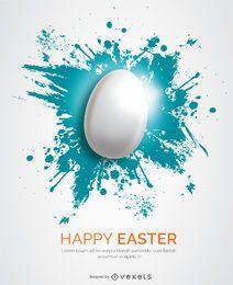 Huevo de Pascua blanco sobre salpicadura azul