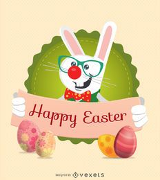 Easter Rabbit Character with ribbon message