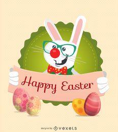 Personagem de coelho de Páscoa com mensagem de fita