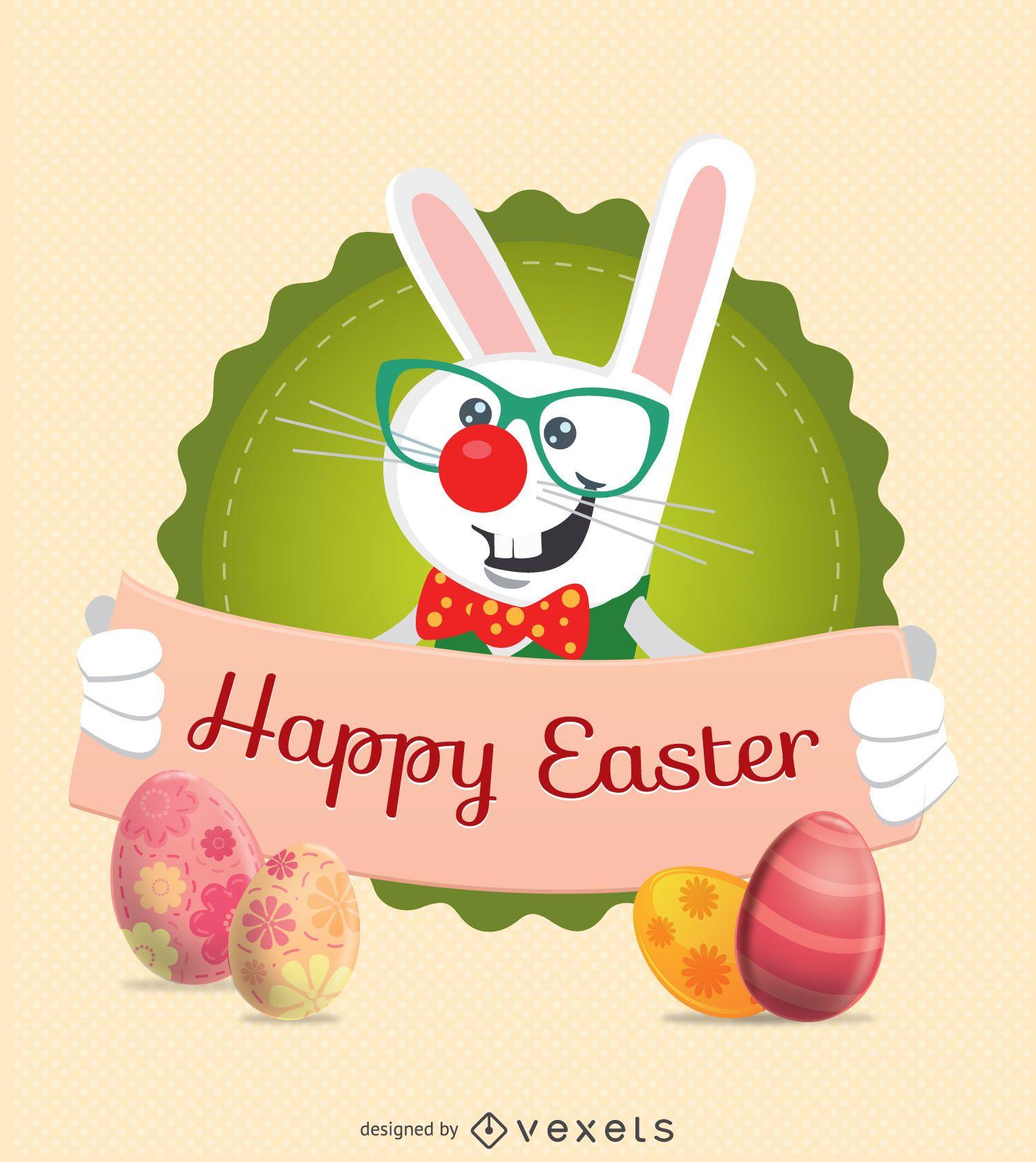 Carácter de conejo de Pascua con mensaje de cinta